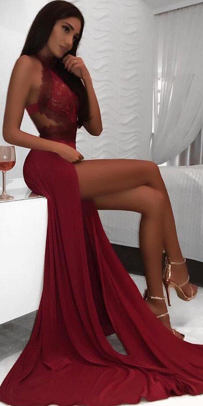Sexy Lace Burgundy Prom Dress, High Slit Evening Party Dress