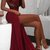 Sexy Lace Burgundy Prom Dress, High Slit Evening Party Dress