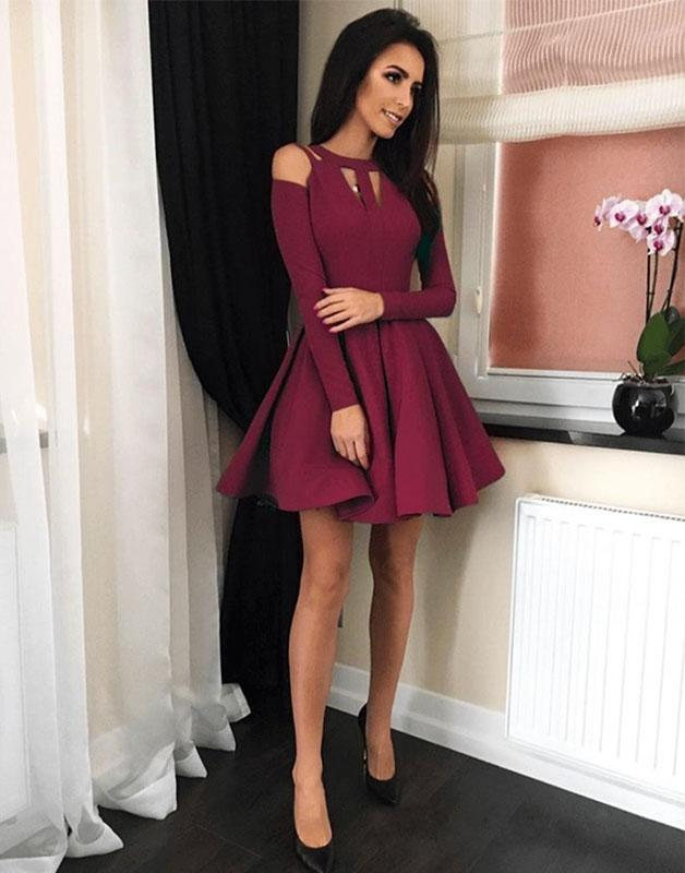 Long Sleeve Short Homecoming Dress, Burgundy Satin Prom Dress