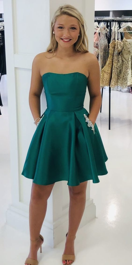 Strapless Satin Homecoming Dress, Short Prom Dresses, Graduation Dress, Party