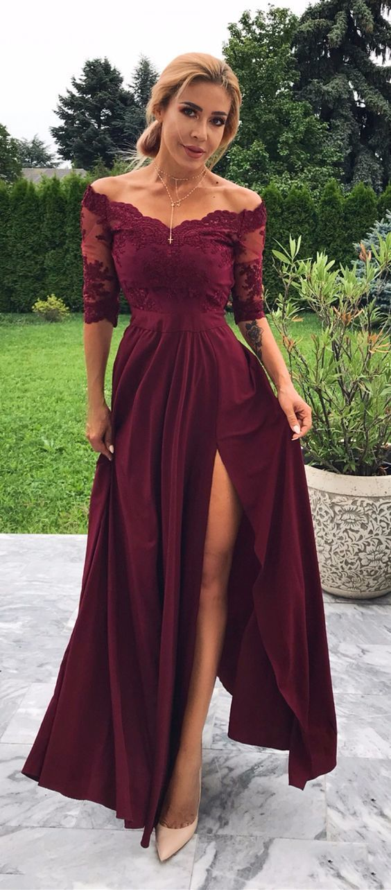Half Sleeve Short Sleeve Lace Evening Dress, Burgundy Side Slit Long Prom Party
