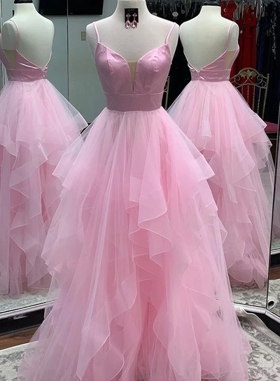 Charming Open Back Pink Prom Dress with Spaghetti Straps, Pink Evening Dress