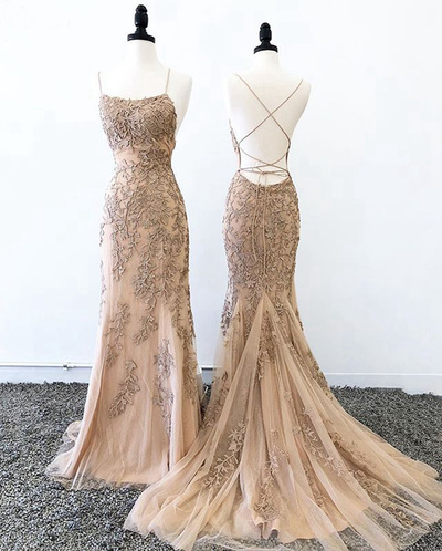 Backless Champagne Mermaid Evening Dress, Formal Appliques Prom Dress