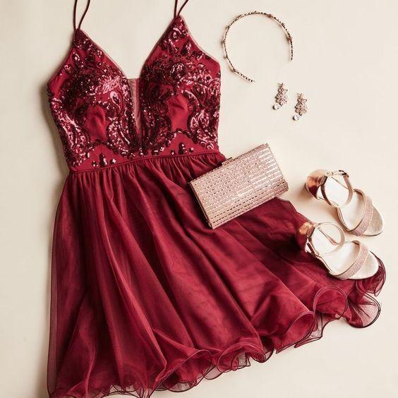 Spaghetti Straps Burgundy Homecoming Dress, Short Cocktail Dresses, Graduation