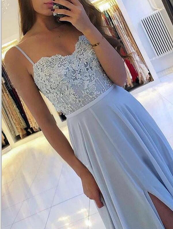 Sexy Spaghetti Straps Blue Chiffon Evening Dress, Open Back Long Prom Dress with