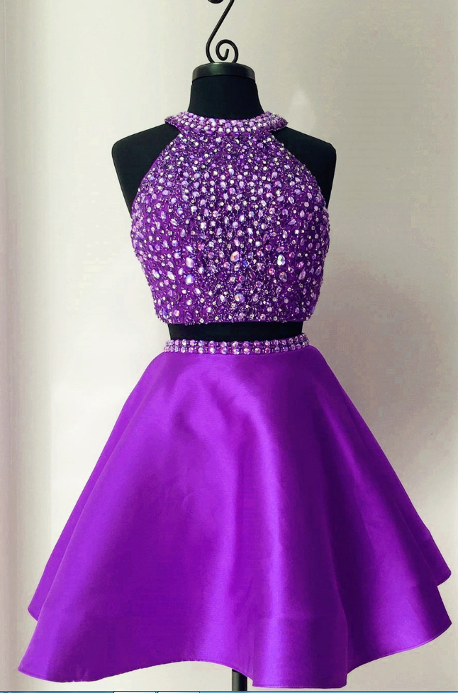 Purple Homecoming Dress, Crystal Beaded Short Homecoming Dress, Two Piece Prom