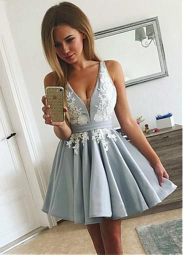 V-neck Neckline Short A Line Homecoming Dresses With Lace