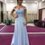 Off Shoulder Light Blue Prom Dresses Lace Appliques Sequined Special Occasion