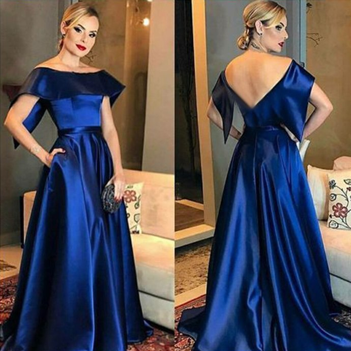 2020 Satin Floor Length A-line Sweep Train Formal Gown With Pockets Long Dress