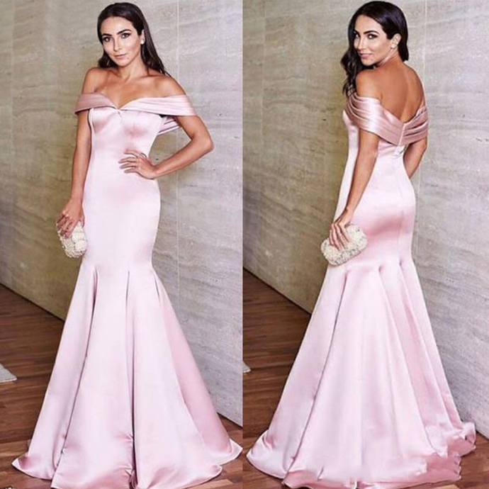 Pink Mermaid Prom Dresses 2020 Off Shoulder Open Back Sweep Train Satin Plus