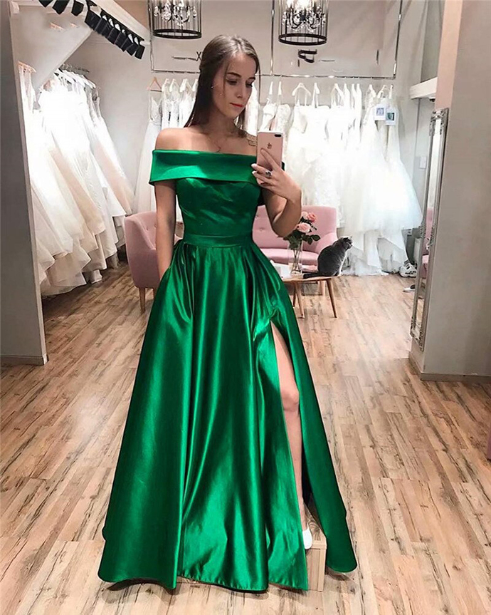 2020 Prom Dresses With Side Slit Off The Shoulder A-Line Pockets Simple