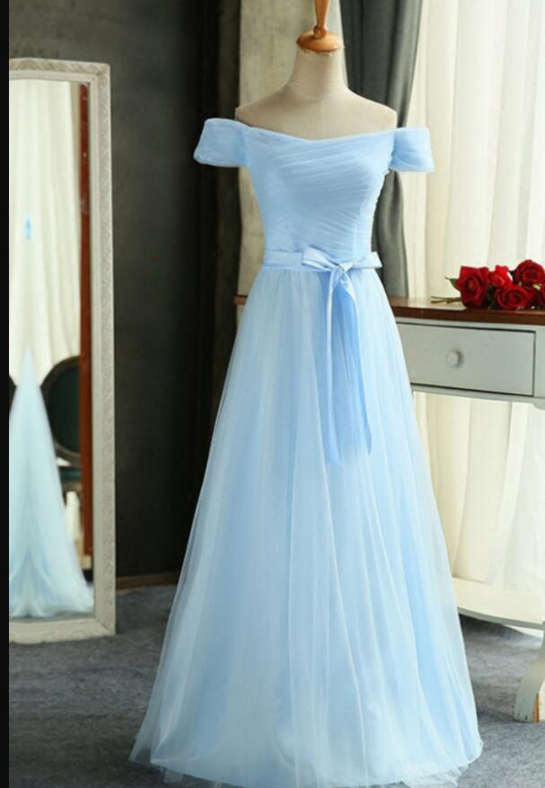 Sky Blue Ruffle Long Prom Dress A Line Bridesmaids Dresses, Prom Dress 2020