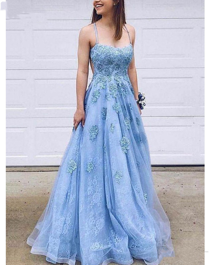 Charming A Line Sweetheart Spaghetti Straps Blue Lace Prom Dresses with