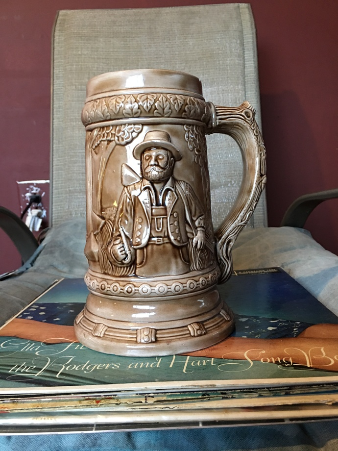 Vintage Ceramic Pottery Stein Mug Rare Brown Stoneware Pewter Unique