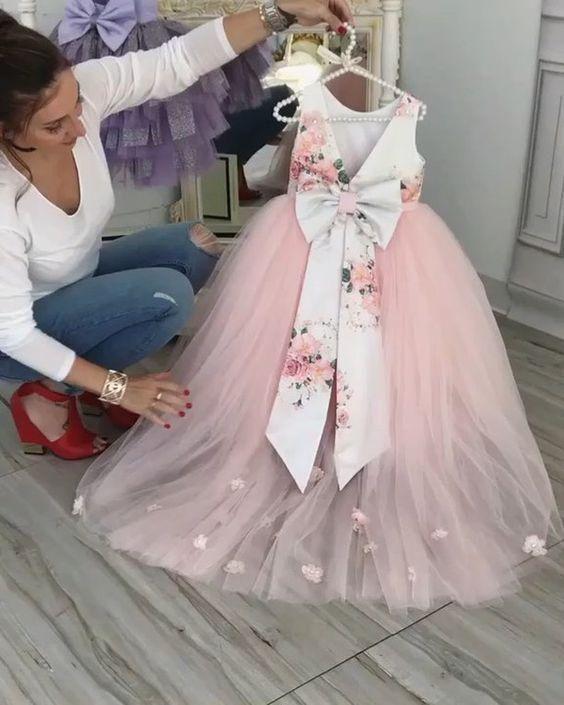 pink flower girl dresses for weddings printed 3d flowers cheap cute baby girl