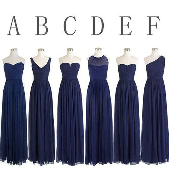 navy blue bridesmaid dresses long 2020 chiffon cheap mismatched elegant custom