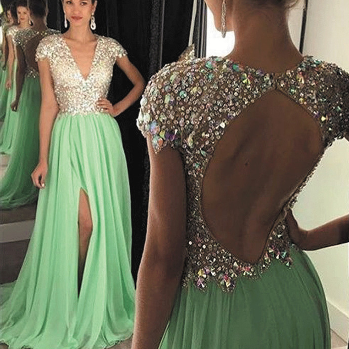 cap sleeve beaded prom dresses long chiffon elegant mint green a line sexy prom