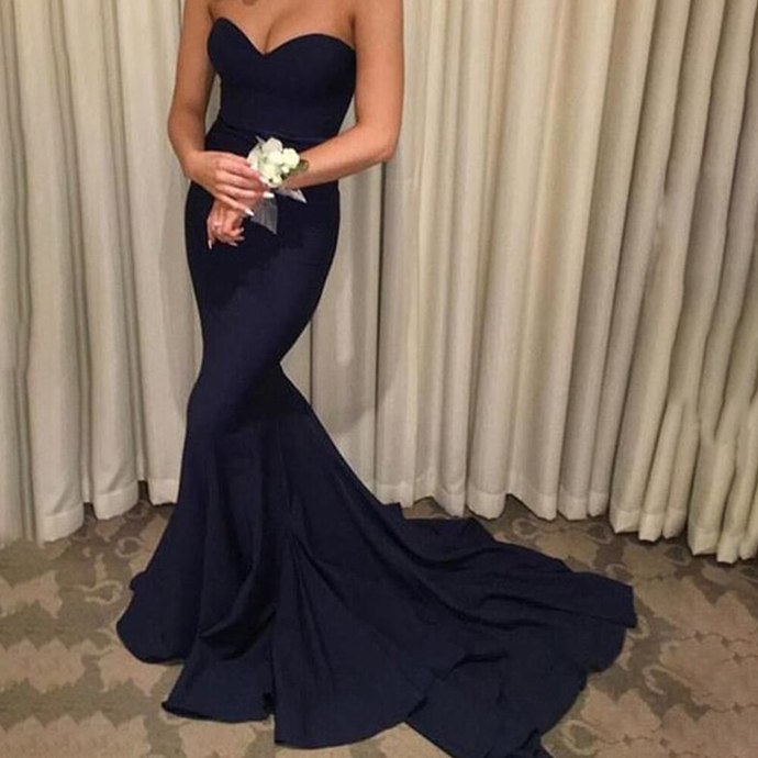 Backless Long Prom Dresses Mermaid Sleeveless Navy Blue  Evening Gown Formal