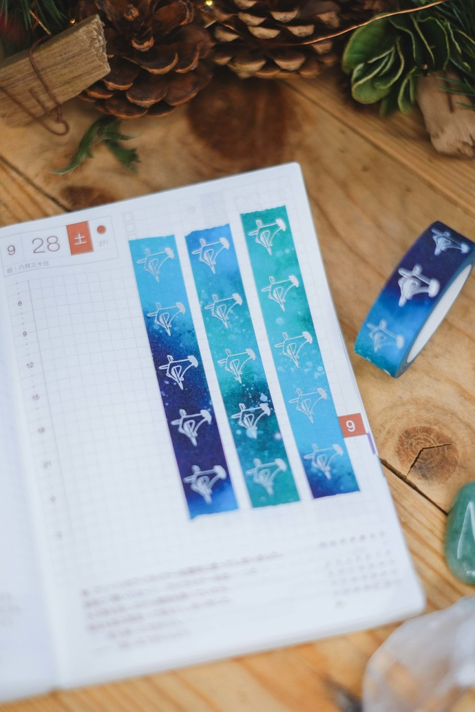 London Gifties original lustre design tape - Holding Pen - Ocean Blues - glitter