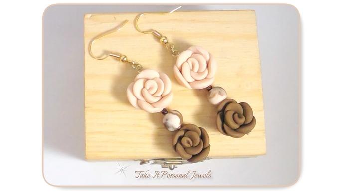 Flower Dangle Earrings Natural tones Hypoallergenic Gold-Tone Hook Ear Wire