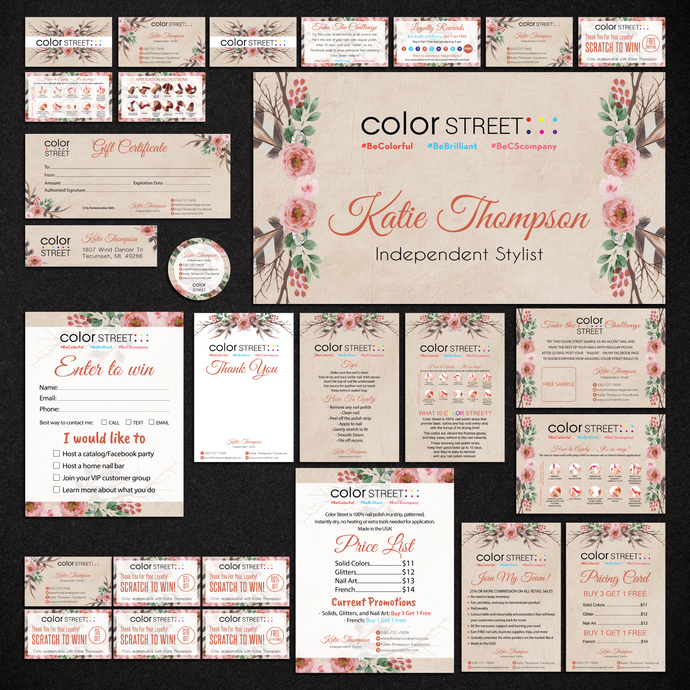 Personalized Color Street Cards, Color Street Marketing Kit, Color Street