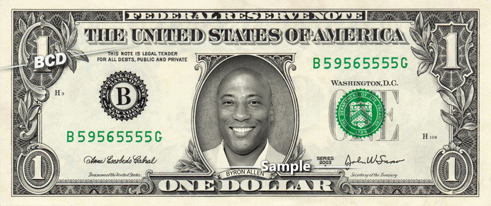 BYRON ALLEN on a REAL Dollar Bill Cash Money Memorabilia Collectible Celebrity