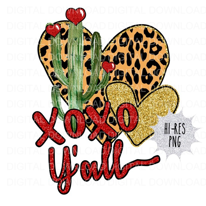 XOXO Cactus Digital Download PNG