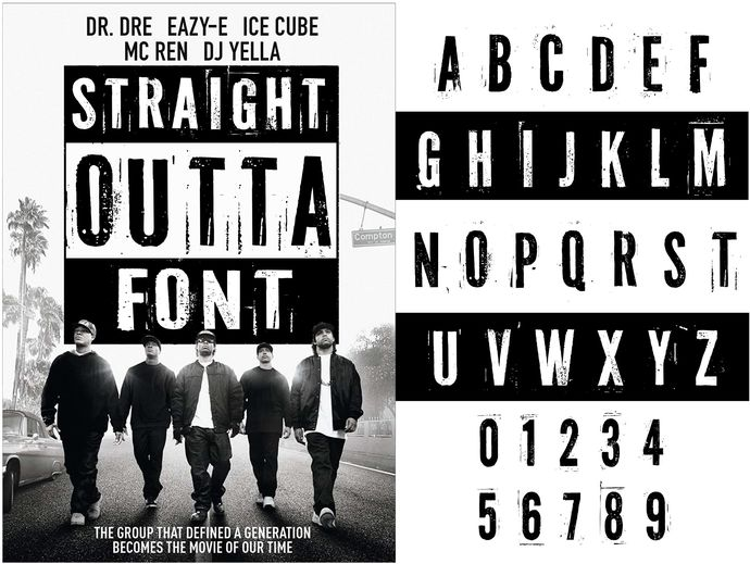 Straight Outta vector font SVG + Straight Outta installable font OTF + Straight