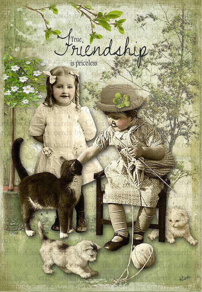 Girlfriends and Their Cats Digital Collage Greeting Card118