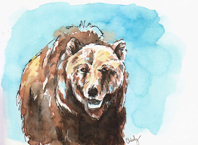 5x7 Smiling Brown Bear - Original Watercolor - Wildlife Artwork - Ready to gift