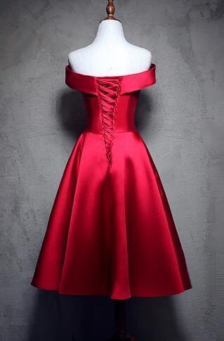 Dark Red Satin Strapless Short Prom Dress, Homecoming Dress
