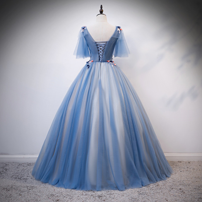 Beautiful Blue Tulle Lace Applique Long Prom Dress, Sweet 16 Dress