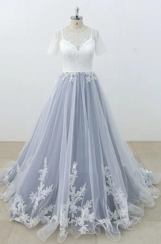 Charming Gray Tulle Ivory Lace Wedding Dress, Long Prom Dress 2020