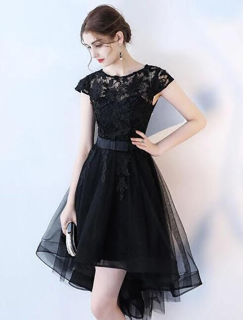 Lovely Black Tulle High Low Lace Party Dress, Cap Sleeves Formal Dress