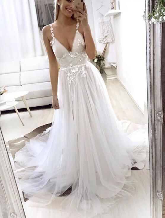Charming White Tulle Long V-neckline Wedding Dress,White Wedding Party Dress