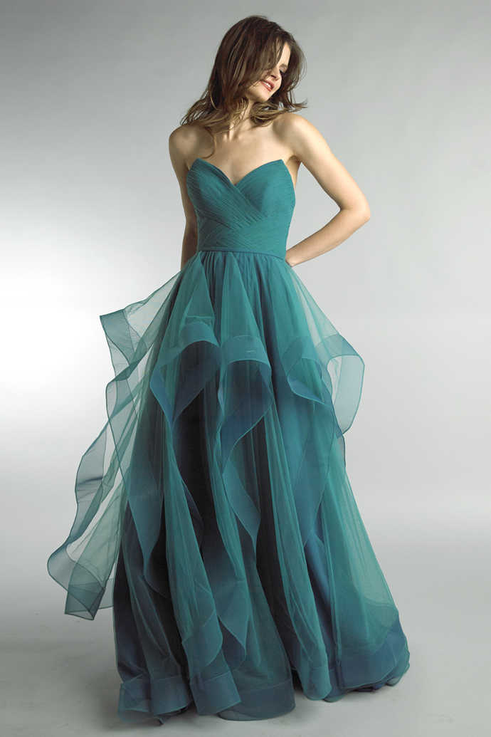 Charming Prom Dress,Tulle Prom Gown,A-Line Evening Dress,Strapless Prom Gown