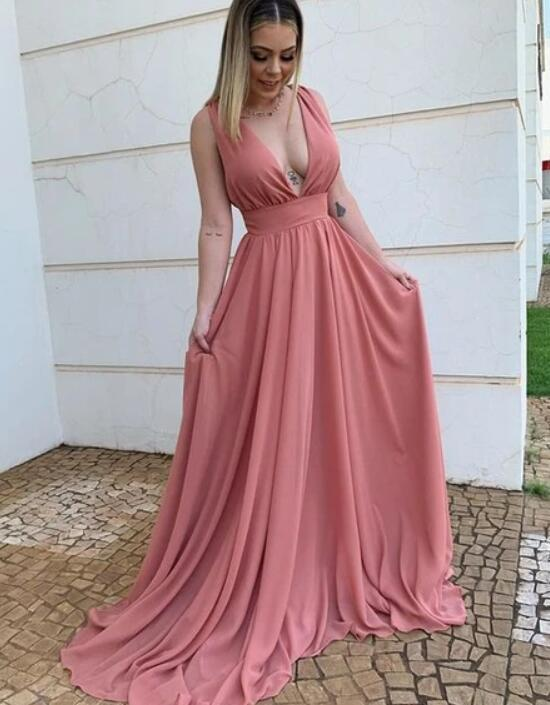 Beautiful Long Plunging Neck Chiffon prom Dress, Dark Pink Party Dress