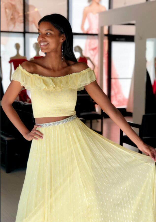 Yellow Two Piece Prom Dresses, Sexy Off the Shoulder Long Evening Dress