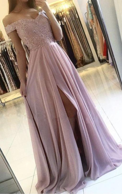Off Shoulder A Line Prom Dresses with Appliques, Front Slit Formal Evening Dress