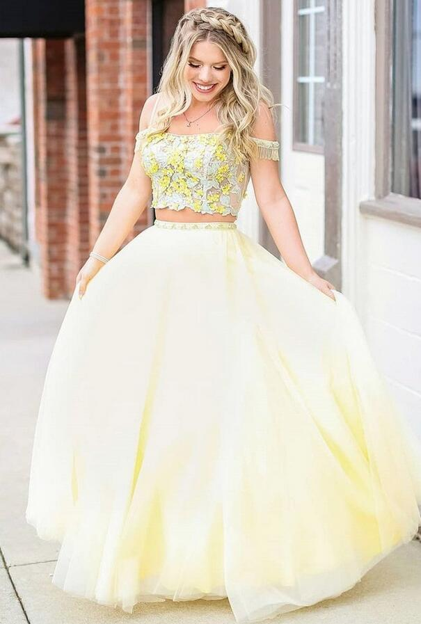 Princess Yellow Two Piece Prom Dress, Appliques Tulle Long Prom Dresses