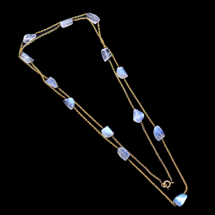 925 Sterling Silver Rainbow Moonstone Chain, Moonstone Chain, Rainbow Moonstone