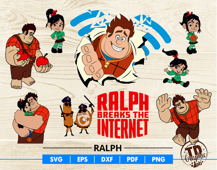 Ralph Breaks The Internet SVG Bundle, Vanellope and Ralph ClipArt, Silhouette,