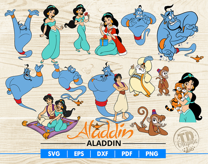 Aladdin SVG Bundle, Disney Aladdin Clipart, Disney Princess Svg, Vector Files,