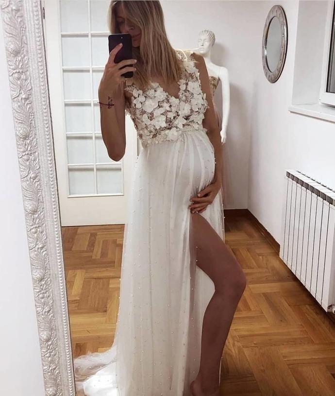 Pregnant prom Prom dresses, long prom dress, evening dress,prom dresses, G282