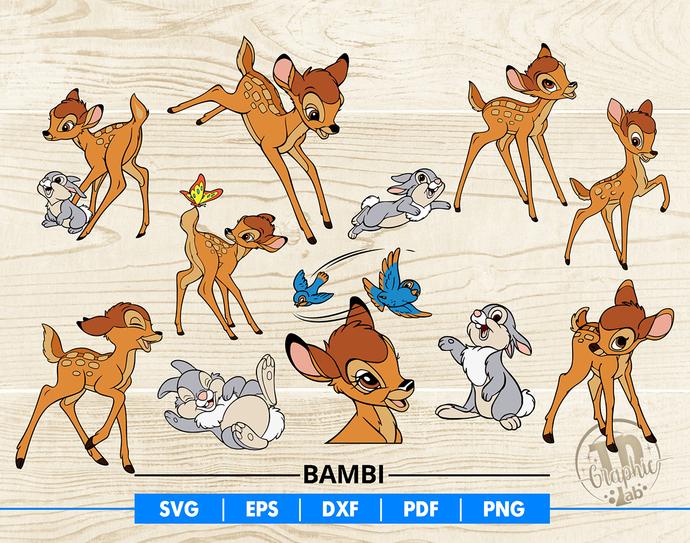 Bambi SVG Bundle, Bambi and Thumper Clipart, Disney Animals Svg, Vector Files,