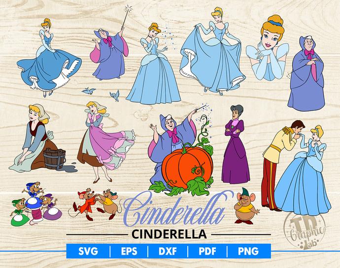 Cinderella SVG Bundle, Disney Clipart, Fairy Godmothersvg, Disney Princess Svg,