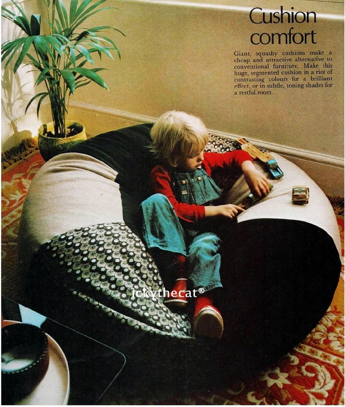 Instant PDF Digital Download Vintage Chart Sewing Pattern Beanbag/Floor