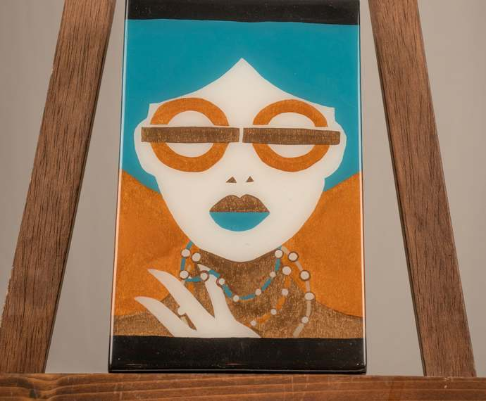 Lady with Gold glasses painting