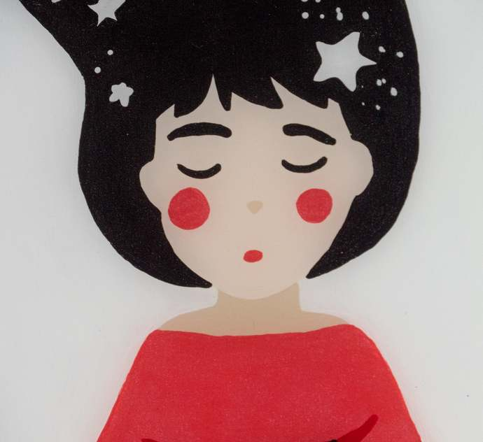 Lady in Red with Star painting