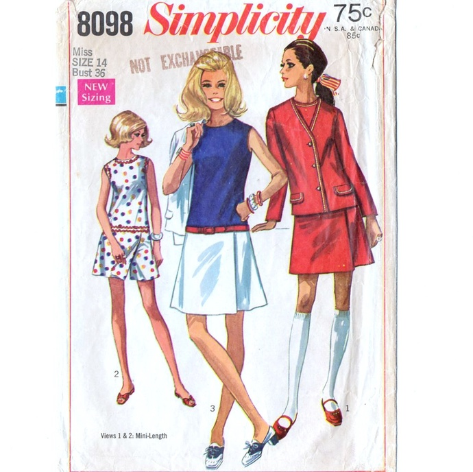 Simplicity 8098 Misses Culotte-Dress, Jacket 60s Vintage Sewing Pattern Size 14
